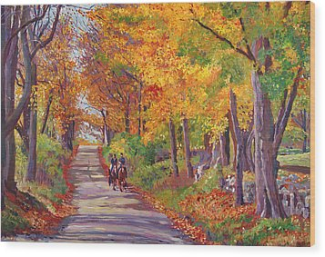 Autumn Ride Wood Print by David Lloyd Glover