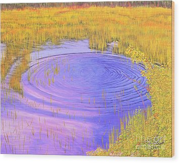 Wood Print featuring the painting Autumn Ripples by Cindy Lee Longhini