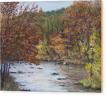Autumn River Wood Print by Jack Skinner