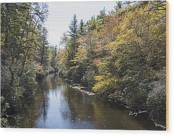 Autumn River Wood Print