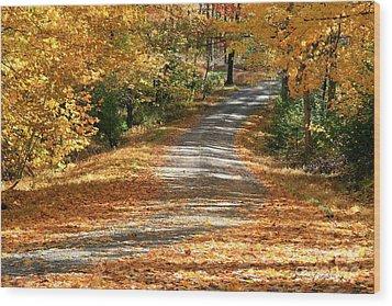 Autumn Road Wood Print by Debra Straub