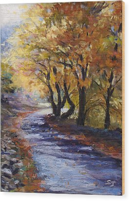 Autumn Road Home Wood Print by Susan Jenkins