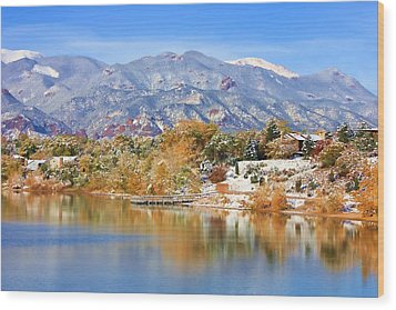 Autumn Snow At The Lake Wood Print by Diane Alexander