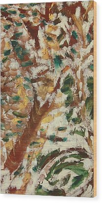 Wood Print featuring the painting Autumn Snow II by Patricia Cleasby