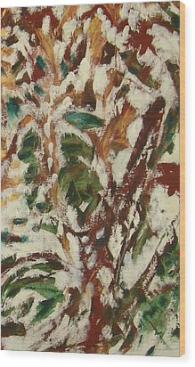 Wood Print featuring the painting Autumn Snow by Patricia Cleasby