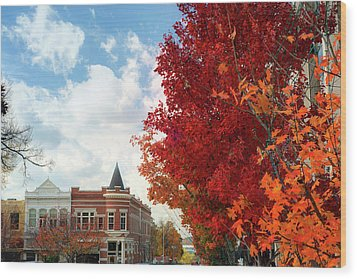 Autumn Splendor Along The Downtown Fayetteville Arkansas Skyline  Wood Print