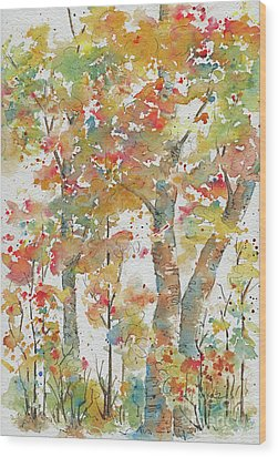 Wood Print featuring the painting Autumn Splendor by Pat Katz