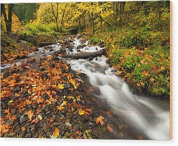 Autumn Split Wood Print by Mike  Dawson