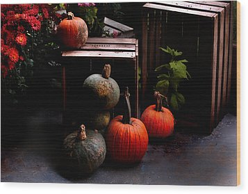 Autumn Squash Wood Print by Kathleen Stephens