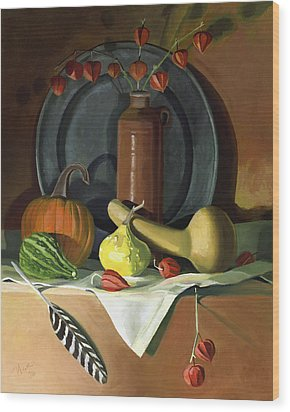 Wood Print featuring the painting Autumn Still Life by Nancy Griswold