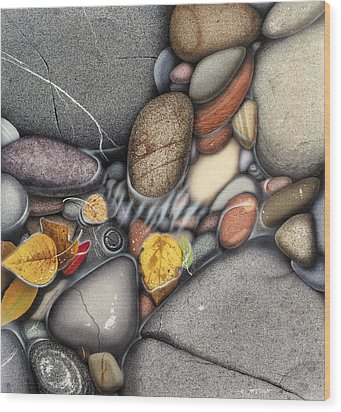 Autumn Stones Wood Print by JQ Licensing