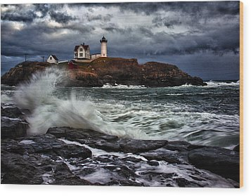 Autumn Storm At Cape Neddick Wood Print by Rick Berk