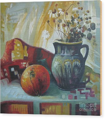 Wood Print featuring the painting Autumn Story by Elena Oleniuc