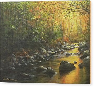 Autumn Stream Wood Print by Kim Lockman