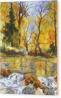 Autumn Stream Wood Print by Pat Crowther