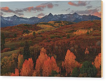 Wood Print featuring the photograph Autumn Sunrise At Dallas Divide In Colorado by Jetson Nguyen