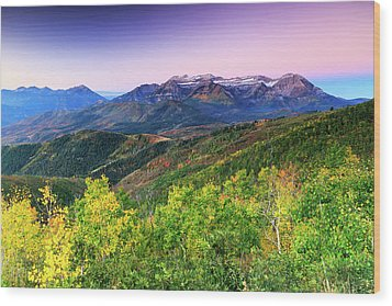Wood Print featuring the photograph Autumn Sunrise In The Utah Mountains. by Johnny Adolphson