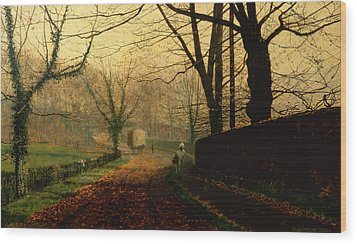 Autumn Sunshine Stapleton Parknear Pontefract  Wood Print by John Atkinson Grimshaw