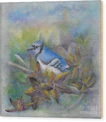 Autumn Sweet Gum With Blue Jay Wood Print by Sheri Hubbard