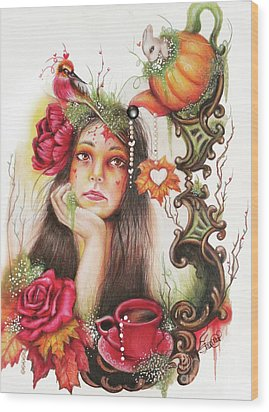 Wood Print featuring the drawing Autumn Tea  by Sheena Pike