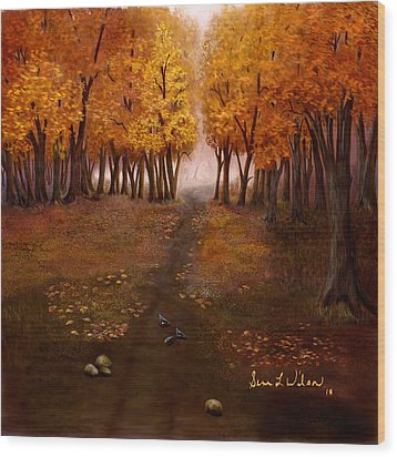 Wood Print featuring the painting Autumn Trail by Sena Wilson