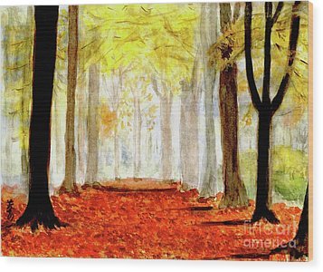 Wood Print featuring the painting Autumn Trail by Yoshiko Mishina