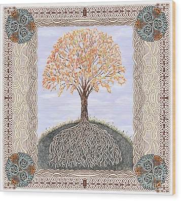 Autumn Tree Of Life Wood Print