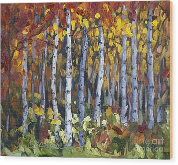 Wood Print featuring the painting Autumn Trees by Jennifer Beaudet