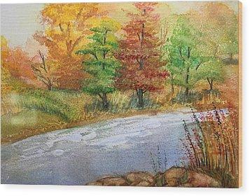 Autumn Trees Wood Print by Remegio Onia