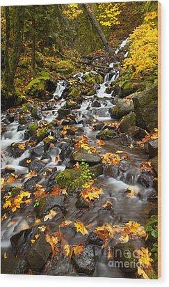 Autumn Tumbles Down Wood Print by Mike  Dawson