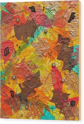 Autumn Leaves Underfoot Wood Print