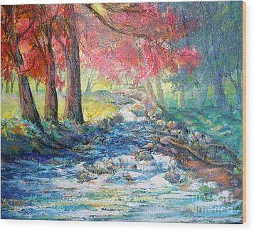 Autumn View Of Bubbling Creek Wood Print