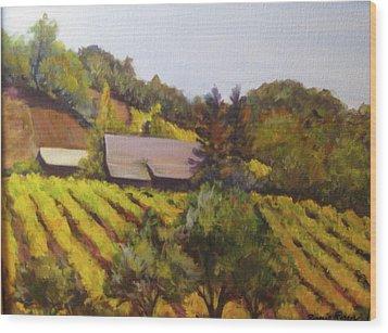 Autumn Vineyard Wood Print by Bonnie Rosen