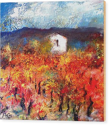 Autumn Vineyard Wood Print