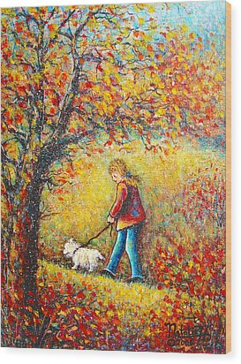 Wood Print featuring the painting Autumn Walk  by Natalie Holland