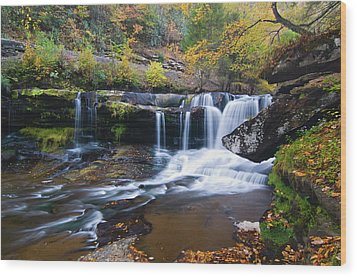 Wood Print featuring the photograph Autumn Waterfall by Steve Stuller