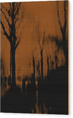 Autumn Wet Day Wood Print