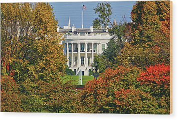 Wood Print featuring the photograph Autumn White House by Mitch Cat