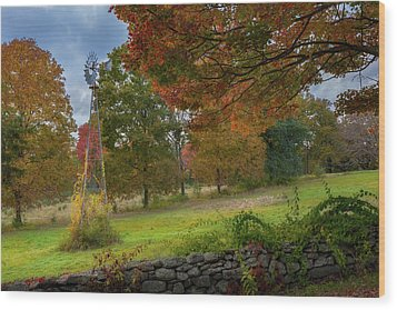 Wood Print featuring the photograph Autumn Windmill by Bill Wakeley