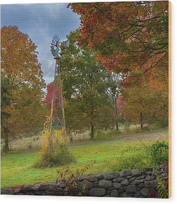 Wood Print featuring the photograph Autumn Windmill Square by Bill Wakeley