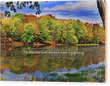 Wood Print featuring the photograph Autumn Wonders Giving by Diane E Berry