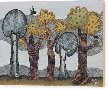 Autumnal Grove  Wood Print by Graciela Bello