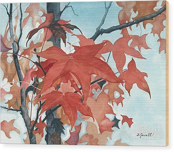 Autumn's Artistry Wood Print by Barbara Jewell