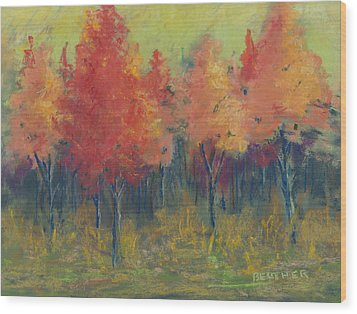 Autumn's Glow Wood Print by Lee Beuther