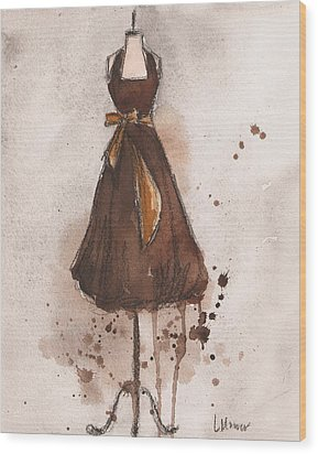 Autumn's Gold Vintage Dress Wood Print by Lauren Maurer