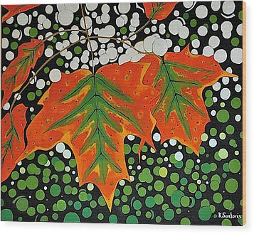 Wood Print featuring the painting Autumns Kiss by Kathleen Sartoris