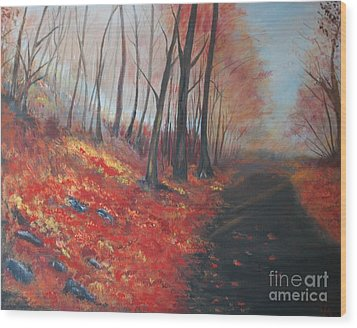 Wood Print featuring the painting Autumns Pathway by Leslie Allen