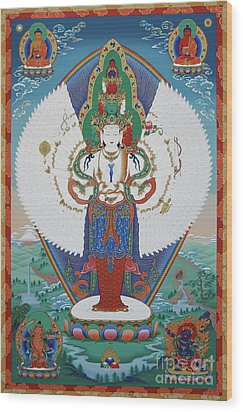 Avalokiteshvara Lord Of Compassion Wood Print by Sergey Noskov