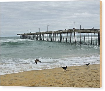 Avalon Fishing Pier Wood Print by Eve Spring