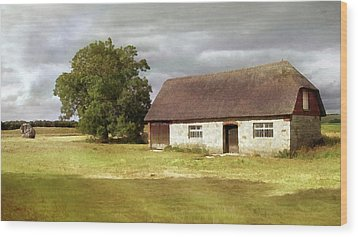 Avebury Cottage Tree And Standing Stone Wood Print